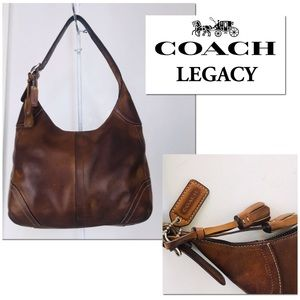 Coach Hamptons Distressed Burnished Leather Hobo